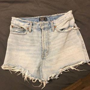Abercrombie High Waisted Denim Shorts - Light Wash